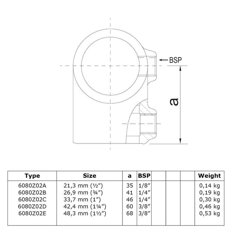 Doos Kort T-stuk - zwart-C / 33,7 mm