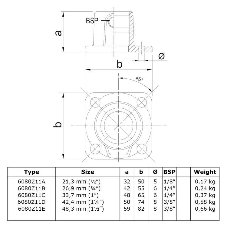 Doos Vierkante voetplaat met doorloop - zwart-C / 33,7 mm