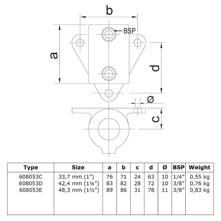 Doos Boeiboord bevestigingshoek-D / 42,4 mm