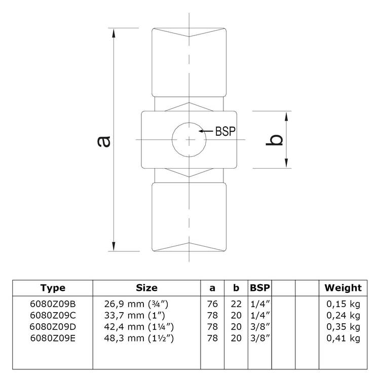 Doos Inwendig koppelstuk - zwart-D / 42,4 mm