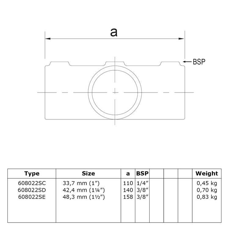 Doos Kruisstuk in 1 vlak voor helling 0° - 11°-E / 48,3 mm