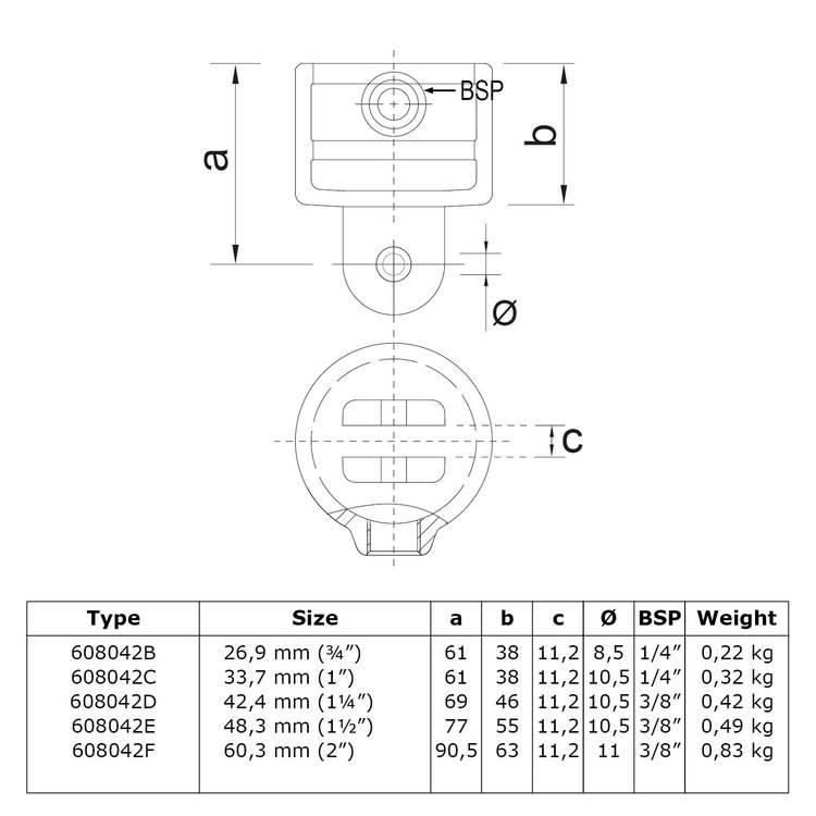 Buiskoppeling Huls t.b.v. scharnierstuk-B / 26,9 mm
