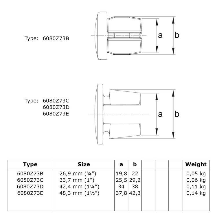 Inslagdop Metaal - zwart-B / 26,9 mm