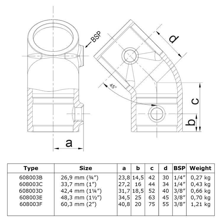 Buiskoppeling Kort T-stuk 45°-C / 33,7 mm