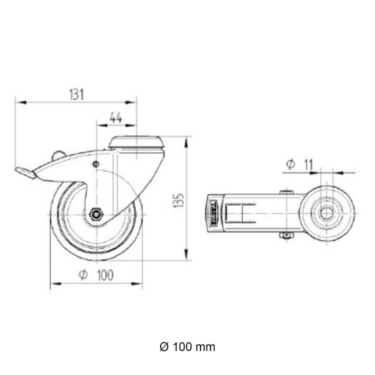 Zwenkwiel (zwart) met rem en expander - 100mm diameter-E / 48,3 mm