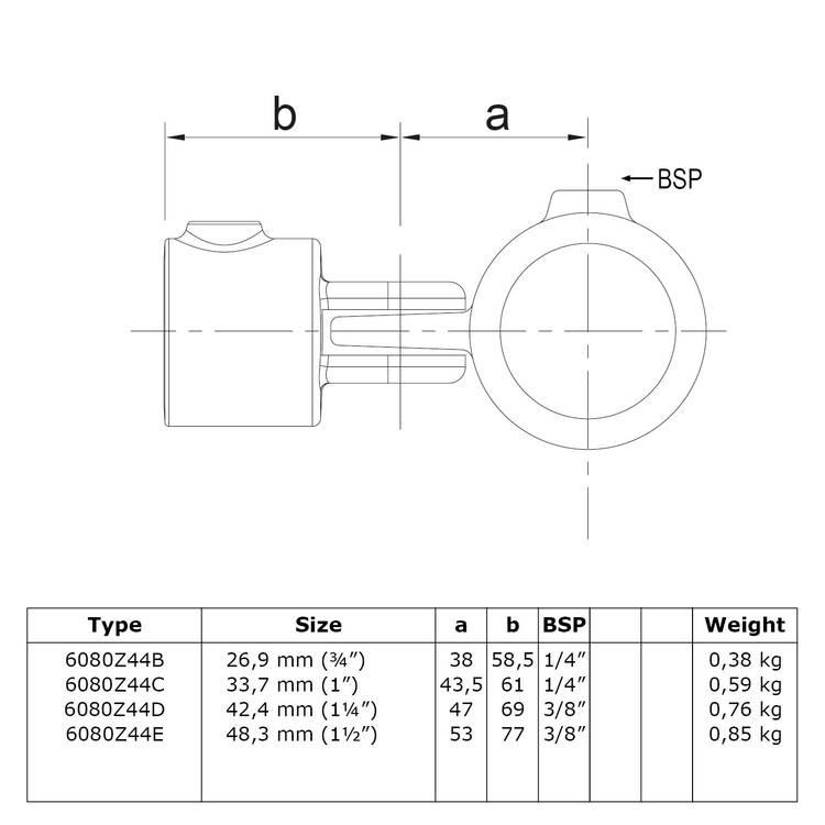 Doos Enkel scharnierstuk - zwart-D / 42,4 mm
