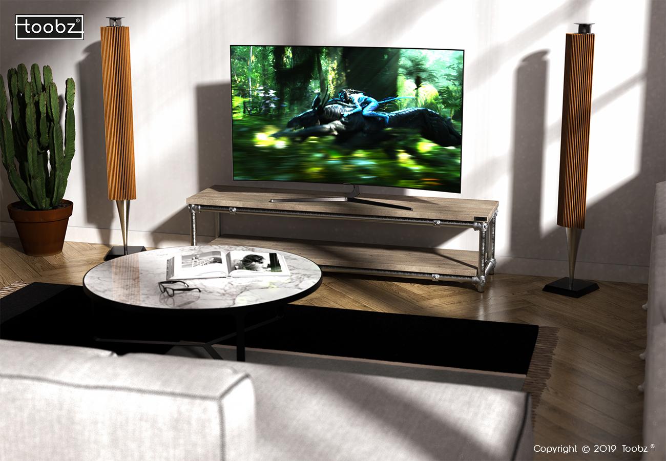 TV meubel Nottingham: M / 33,7mm / zwart / oud gemaakt hout