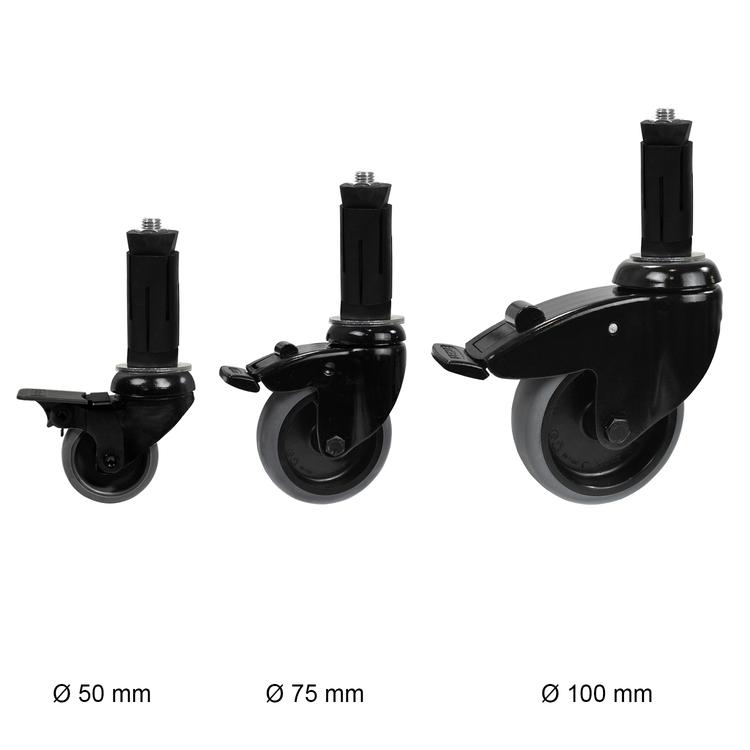 Zwenkwiel (zwart) met rem en expander - 75mm diameter-E / 48,3 mm