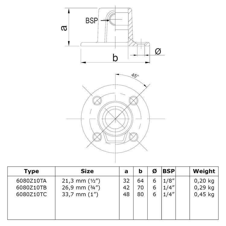 Doos Ronde voetplaat met doorloop – zwart - C / 33,7 mm