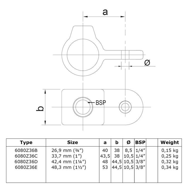 Oogdeel scharnierstuk - zwart-E / 48,3 mm