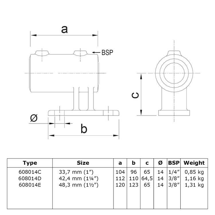 Doos Boeiboordbevestiging verticaal-E / 48,3 mm