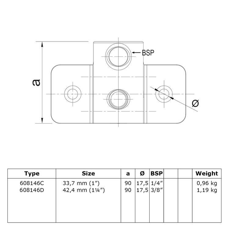 Buiskoppeling Extra zware boeiboordbevestiging horizontaal-E / 48,3 mm
