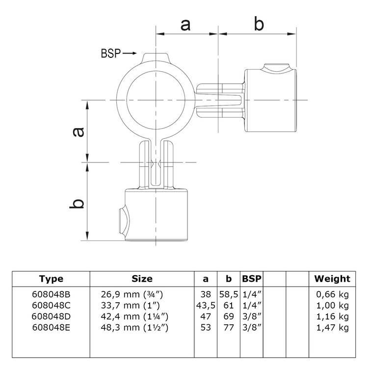 Buiskoppeling Dubbel scharnierstuk 90°-D / 42,4 mm