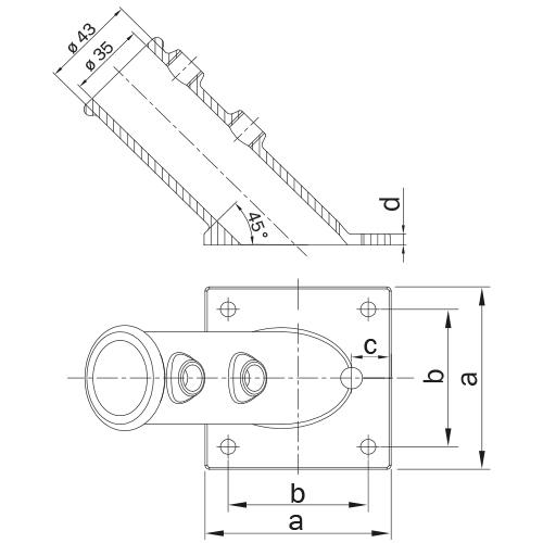 Vlaggenstok koppeling-C / 33,7 mm
