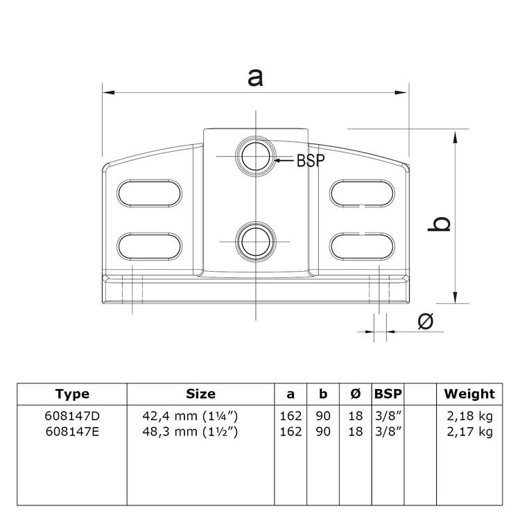 Buiskoppeling Schoprandvoetplaat-E / 48,3 mm