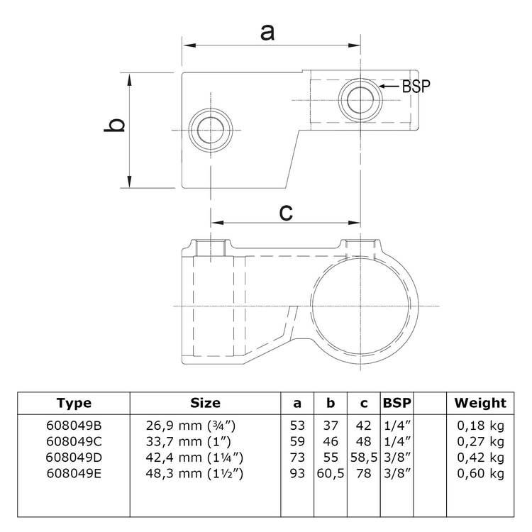 Doos Verstelbaar hoekstuk -E / 48,3 mm