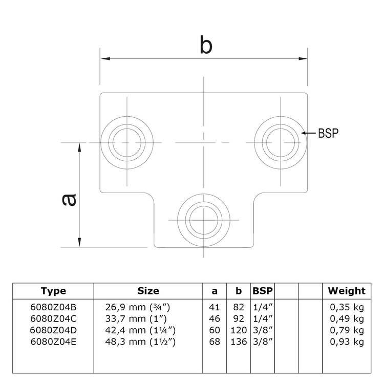 Doos Lang T-stuk - zwart-C / 33,7 mm