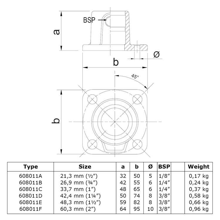 Doos Vierkante voetplaat met doorloop-A / 21,3 mm