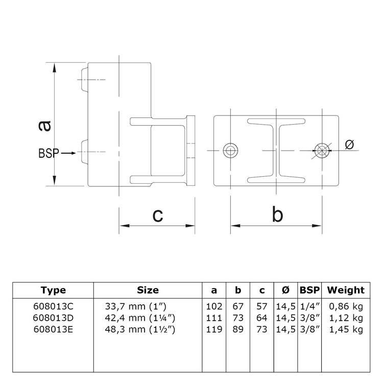 Buiskoppeling Boeiboordbevestiging horizontaal-D / 42,4 mm