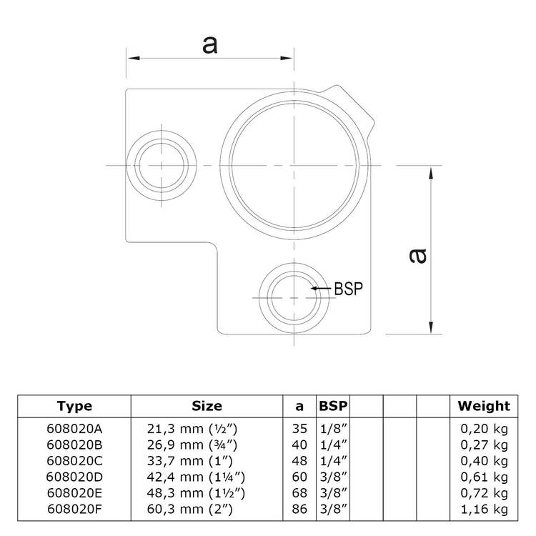 Buiskoppeling Hoekstuk doorlopende staander-C / 33,7 mm