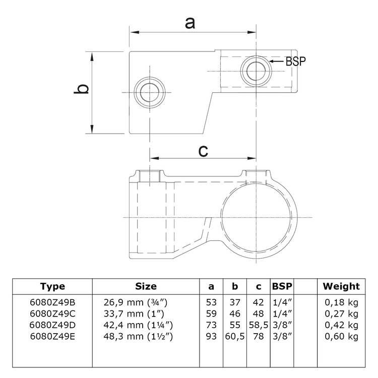 Verstelb. hoekstuk - zwart-C / 33,7 mm