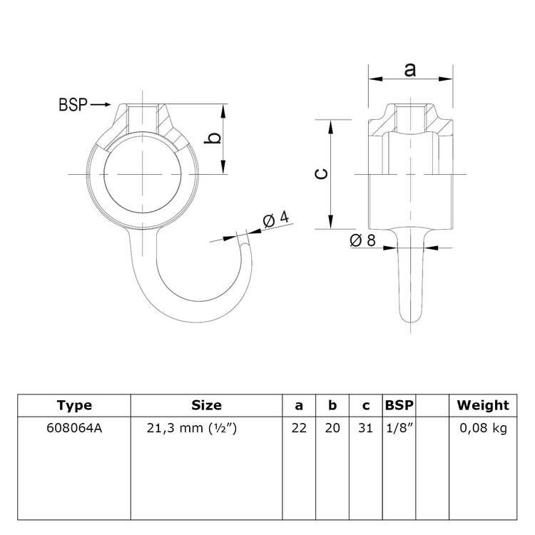 Doos Buiskoppeling Kapstokhaak-D / 42,4 mm