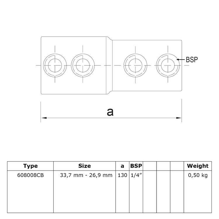 Buiskoppeling Koppelstuk - verloop-CB / 33,7mm - 26,9mm