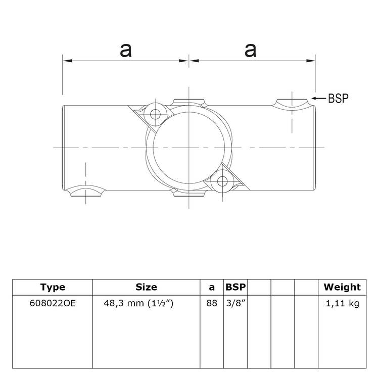 Doos Open klapbaar kruisstuk in 1 vlak-E / 48,3 mm