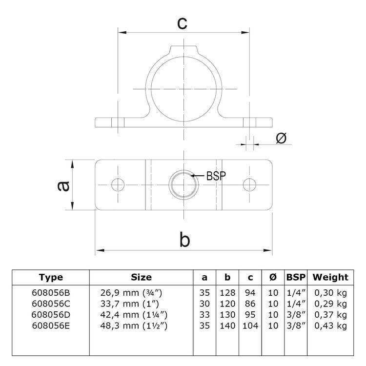 Buiskoppeling Oogdeel dubbele lip-C / 33,7 mm
