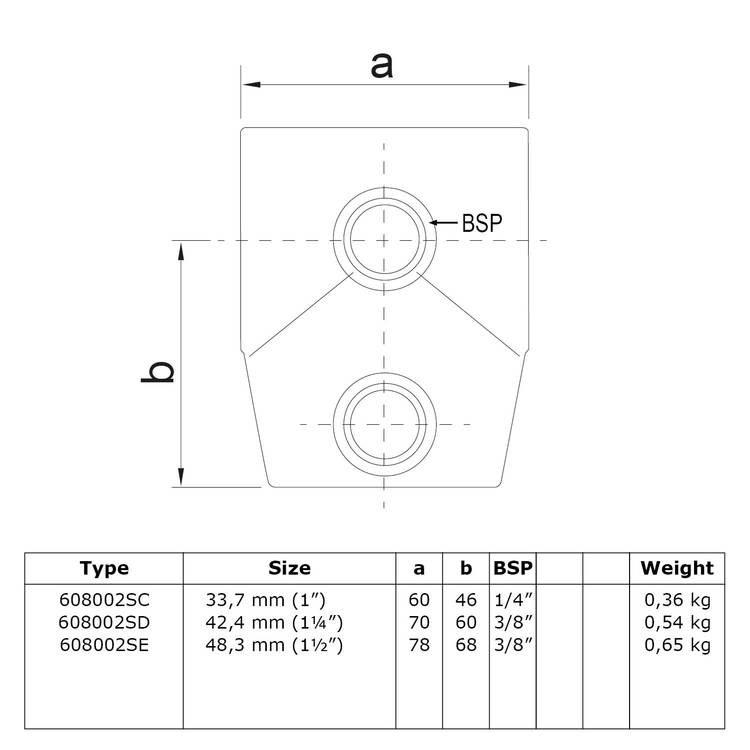 Doos Kort T-stuk - variabele hoek 0° - 11°-E / 48,3 mm