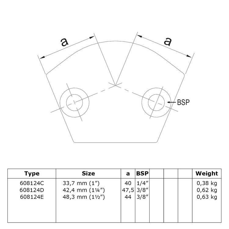 Doos Buiskoppeling Variabel kniestuk 15° - 60°-E / 48,3 mm